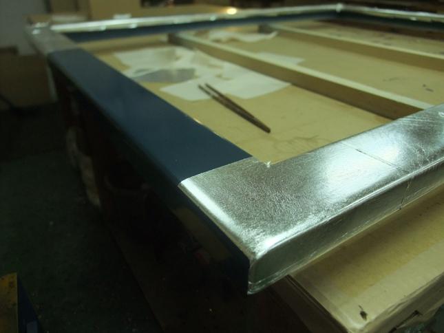 下地カシュー塗布に銀箔手貼り 1