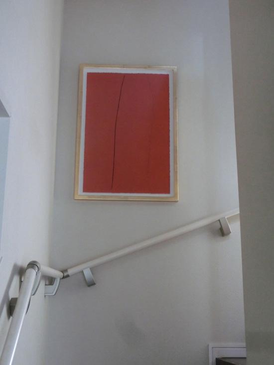 芝高康造・銅版画モノタイプ 階段の壁に飾る